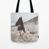 Snowy Horse Tote Bag