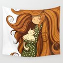 Girl and white cat Wall Tapestry