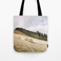 Trees on a sunlit hillside. Upper Derwent Valley, Derbyshire, UK. Tote Bag