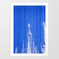 Night Of Blue Over Milan Art Print