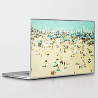 beach Laptop & iPad Skins featuring Coney Island Beach by Mina Teslaru