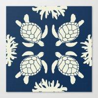 Sea Turtles On Indigo Li… Canvas Print