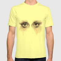 Bloodshot Eyes Doodle  Mens Fitted Tee Lemon SMALL