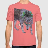 Journeying Spirit (wolf) Mens Fitted Tee Pomegranate SMALL
