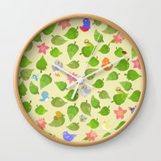 birds&leaves Wall Clock