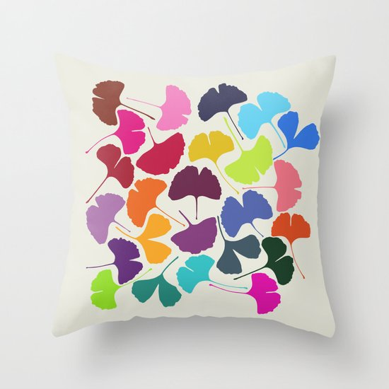 Ginkgo Multicolor Throw Pillow