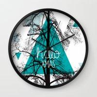 Hello christmas - winter tree geometric photography print Wall Clock