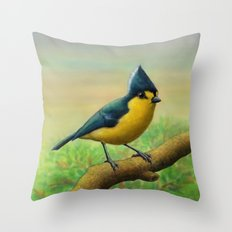 Yellow Tit Throw Pillow