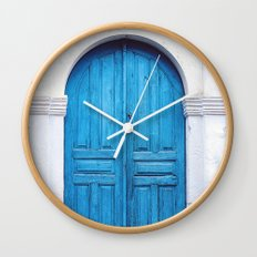 Vibrant Blue Greek Door to Whitewashed Home in Crete, Greece Wall Clock