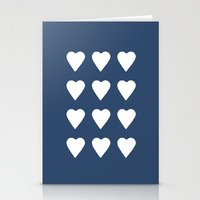 16 Hearts White On Navy Stationery Cards