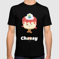 Cheese Cake Mens Fitted Tee Black SMALL