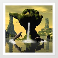 Funny jumping dolphins Art Print