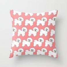 Bichon on coral Throw Pillow