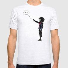 Boy with Robot SMALL Ash Grey Mens Fitted Tee
