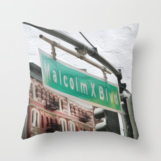 Malcom X Blvd Throw Pillow
