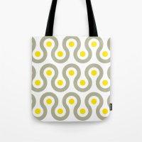 Gray & Yellow Wave Pattern Tote Bag