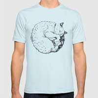 Sleepy Kitty Mens Fitted Tee Light Blue SMALL