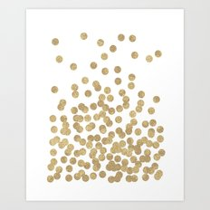 Gold Glitter Dots In Sca… Art Print