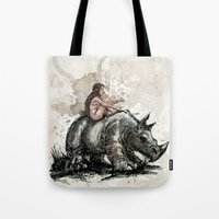 The Girl And The Rhino Tote Bag