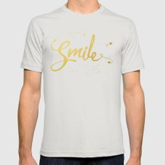 Gold Smile Quote  Mens Fitted Tee Silver SMALL