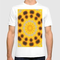 Sunflower And Bee Abstra… Mens Fitted Tee White SMALL