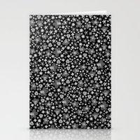 Flora Black Stationery Cards