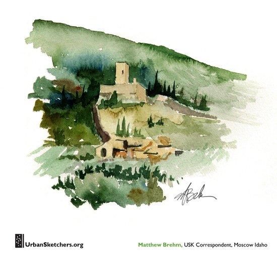 """Matthew Brehm, """"Rocca Minore, Assisi"""" Canvas Print"""