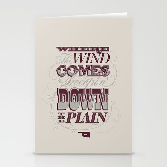 Sweepin' Down The Plain Stationery Card