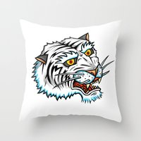 Traditional White Bengal Tiger Throw Pillow
