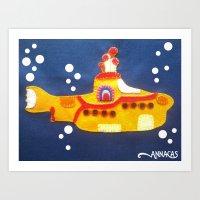 Fabric Yellow Submarine Art Print
