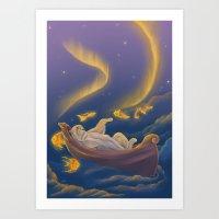 Golden fish and sailing polar bear  Art Print