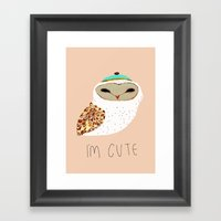 I'm Cute Owl Illustratio… Framed Art Print