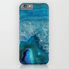 Blue faux druse crystal quartz gem gemstone geode mineral stone science specimen photograph hipster  Slim Case iPhone 6s