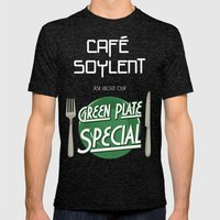 Soylent Cafe's Green Plate Special Mens Fitted Tee Tri-Black SMALL