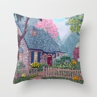 Essex House Cottage by Ave Hurley Throw Pillow