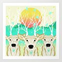 Roots To Grow and Wings To Fly  (Three Deer New Dawn) Art Print