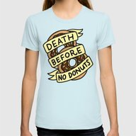 Death Before No Donuts Womens Fitted Tee Light Blue SMALL