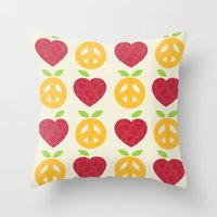 Apple and Orange - Love and Peace Throw Pillow
