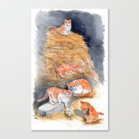 Orange Kittens in Hay Canvas Print