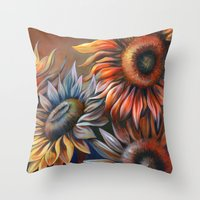 3 Sunflowers Throw Pillow