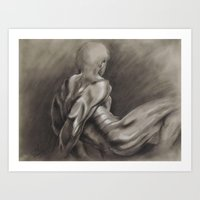 Nude Male Figure Study, Black and White.  Art Print