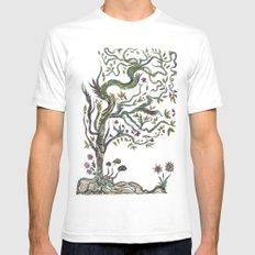 Trees SMALL White Mens Fitted Tee