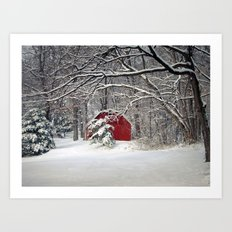 Red Barn In The Snow 201… Art Print