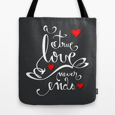 Valentine Love Calligraphy and Hearts V2 Tote Bag