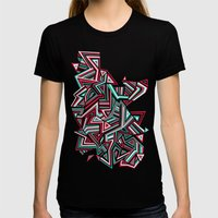 Geo Run Womens Fitted Tee Black SMALL