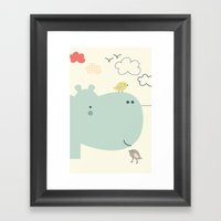 Hippy Hippo Framed Art Print