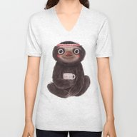 Sloth I♥lazy Unisex V-Neck