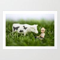 Baldy & Cow Art Print