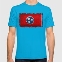 Tennessee State flag, Vintage version Mens Fitted Tee Teal SMALL
