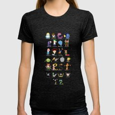 Animated characters abc Womens Fitted Tee Tri-Black SMALL
